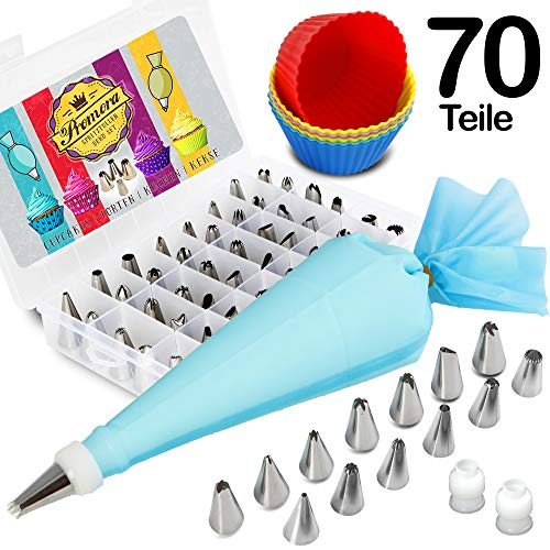 70 Teiliges Premium Spritztüllen Set - 48 Edelstahl Spritztüllen, 2 Silikon Spritzbeutel, 10 Einwegspritzbeutel, 6 Cupcake Formen - zum Backen und Dekorieren von Torten, Cupcakes & Plätzchen