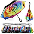 Spar. Saa Double Layer Inverted Umbrella with C-Shaped Handle, Anti-UV Waterproof Windproof Straight Umbrella for Car Rain Outdoor Use (Rainbow Rose)