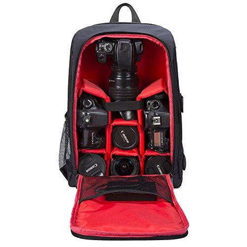 Selighting Mochila Fotográfica Multifunción y Impermeable para Cámaras Réflex Digital SLR Lentes Trípode Flash Laptop Portátil Canon Nikon Sony Drone y Accesorios (Rojo-3)