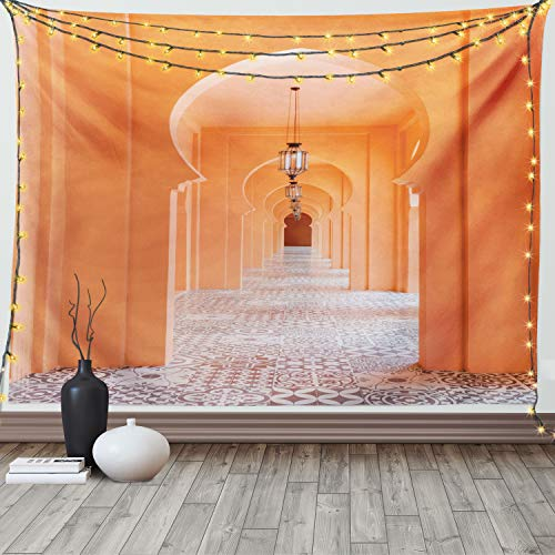 Lunarable Orient Wandteppich Queen Size, marokkanischer Gehweg mit Motiven & Elementen, visuelles orientalisches Foto, Wandbehang, Tagesdecke, Wanddekoration, 223,5 x 223,5 cm, Lachs