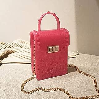 Fashion Single-Shoulder Bags Lock Buckle Jelly Color PU Cellphone Bag Chain Single Shoulder Bag Ladies Handbag Messenger Bag (Black) (Color : Red)