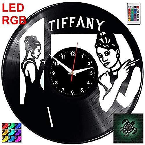 AIYOUBU-Desayuno en el Reloj de Pared de Tiffany's RGB Led Piloto Reloj de ParedRegistro Retro Reloj Hecho a ManoRegalo Estilo Habitación Decoraciones para el hogar Gran Regalo Reloj