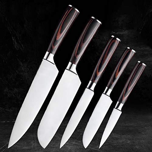 Cuchillos cocina Juego de cuchillos de cocina Herramienta de peladura de acero inoxidable Santoku Chef Corte Cuchillo de fruta Cuchillo de pan Herramienta de madera (Color : 5 PCS)