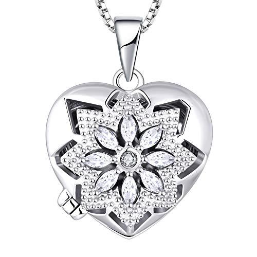 FJ Vintage Flower Heart Locket Necklace Pendant 925 Sterling Silver that...