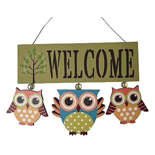 Signo de bienvenida Wood Owl Welcome Decor Front Puerta Shield para la decoración del hogar para la familia y los amigos en los cumpleaños Sensible al Día de Acción de Gracias ( Color : White )