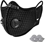 1 Pack Sport Face Shield with Activated Carbon Filter for Motorcycle Cycling Training Running, with 2 Extra Activated Carbon Filters and 2 Valves