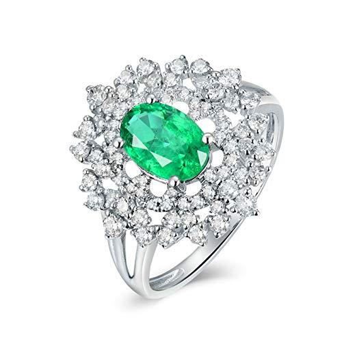 Daesar Anillo de Mujer Oro Blanco 18K,Flor Oval Esmeralda Verde 1ct Diamante 0.55ct,Plata Verde Talla 25