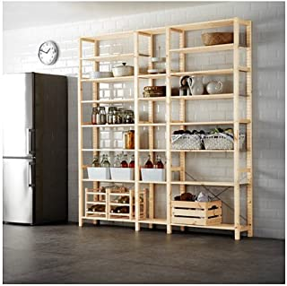 Ikea 3 section shelving unit, pine 86 1/4x11 3/4x89