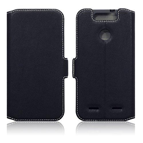 TERRAPIN, Kompatibel mit ZTE Blade V8 Lite Hülle, Leder Tasche Hülle Hülle im Bookstyle mit Standfunktion Kartenfächer - Schwarz
