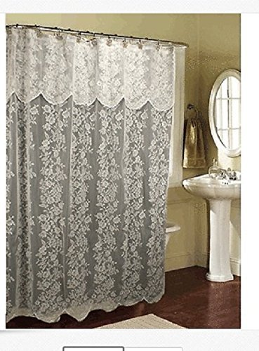 spring Home Romance Lace Beige Fabric Shower Curtain with an Attached Valance, 70 X 72 Long