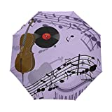 AOTISO Violonchelo Violín Piano Gramófono Disco de Vinilo Viejo Paraguas de Viaje a Prueba de Viento Cierre automático 3 Paraguas de Lluvia Plegable Protección UV Portátil