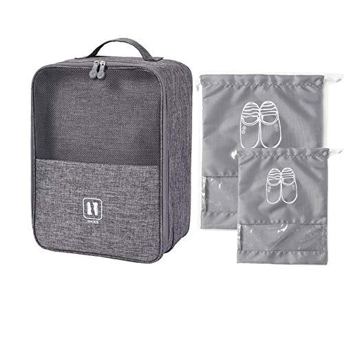Bolsa para zapatos y zapatillas, impermeable para equipaje, ahorra espacio, caja de almacenamiento, bolsa de zapatos de viaje, 2 PVC, con cordón, capacidad para 3 pares de zapatos.