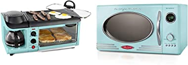 Nostalgia Aqua Retro Style 3-in-1 Breakfast Station and 0.9 Cu.Ft Microwave Oven Bundle