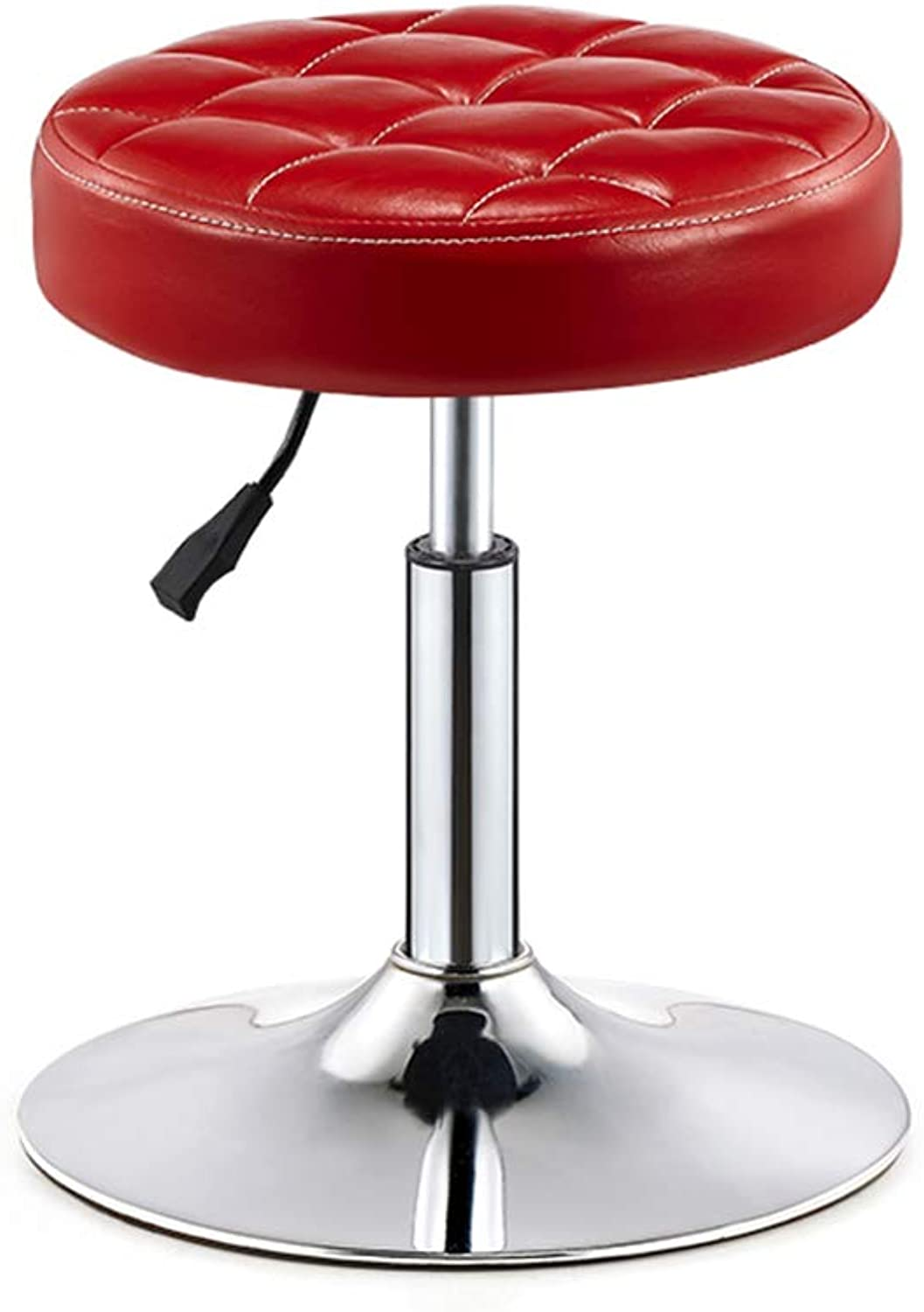 LIQICAI Bar Stool Faux Leather Adjustable Height Swivel Stool Large Base Extremely Comfy, 3 colors Optional (color   RED)
