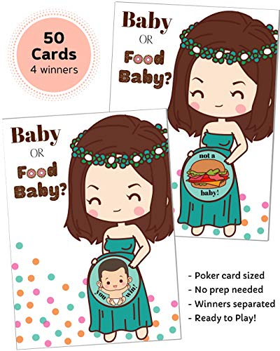 50 Baby Shower Game Scratch Off Lottery Tickets | Diaper Raffle Card Game | 4 Winner | Door Prizes | Ice Breaker | Fun Party Game | Girl Boy Neutral Gender Reveal | Baby or Food Baby | HappiBox (Blue)