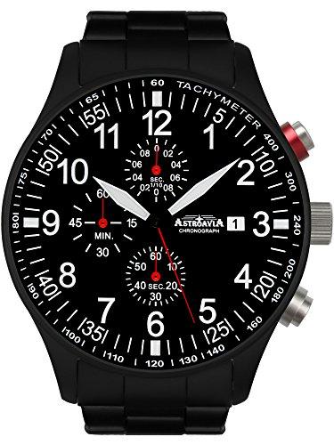 Astroavia Herren-Armbanduhr Chronograph Quarz mit Edelstahl Armband N57BS