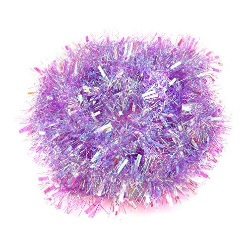Feelava Weihnachts Lametta Metallic Lametta Weihnachtsbaum Dekoration Shiny Lametta Garland Holiday Ornamente, 6 Meter Purple