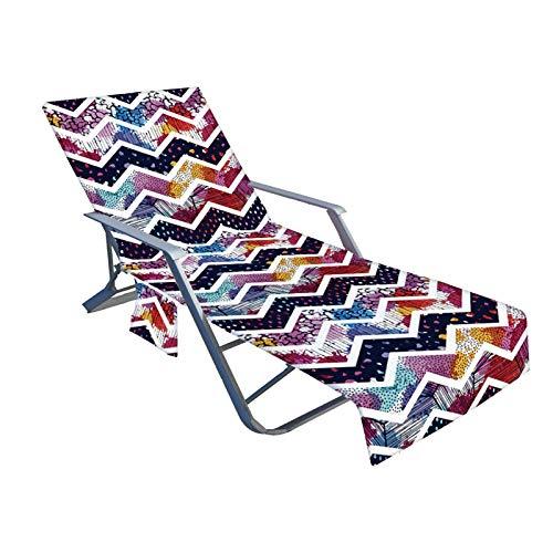 TLM Toys Funda para tumbona de playa con 2 bolsillos laterales, cubierta antideslizante para tomar el sol, cómoda y suave para piscinas, playas, hoteles de jardín o lugares