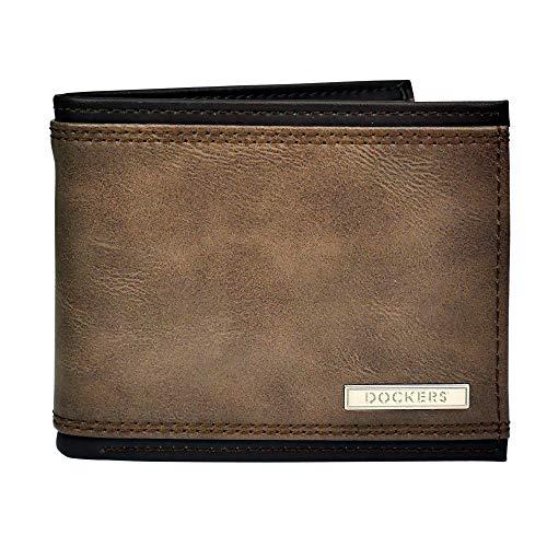 Dockers Bifold Leather Wallet-Thin Slimfold RFID Blocking Security Accesorio de Viaje- Billetera Plegable, Puntada marrón, Talla única para Hombre
