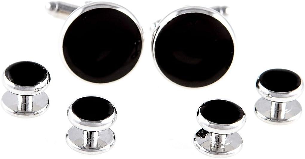 MRCUFF Black Onyx Round Formal Tuxedo Cufflinks & Studs Set in a Presentation Gift Box & Polishing Cloth