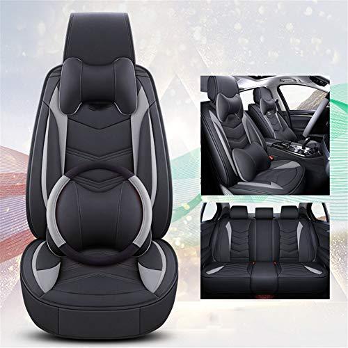 XHJZ-W Car Seat Protector, 5 Sitzer Autositzbezüge Full Set mit wasserfestem Leder, Universal gepasst für die meisten Limousine SUV für den ganzjährigen Einsatz,2,C