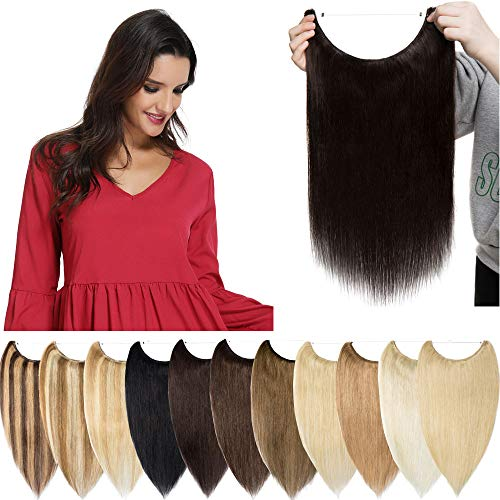 S-noilite Extensions Echthaar Haarverlängerung 1 Tresse Haarteil mit Draht Glatt Haarverdichtung Dünn 50cm(20