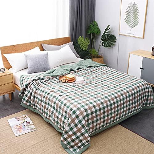YYGQING Manta de verano de algodón para lavar a máquina, suave, sábana de cama, colcha fina para el hogar, colcha de verano (color: gris, tamaño: 100 x 150 cm)