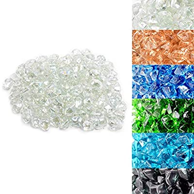 Skyflame 10-Pound Polygon Fire Glass for Fire Pit Fireplace Landscaping,1/2-inch, Crystal