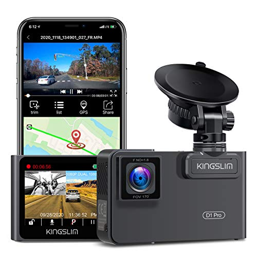 Kingslim D1 Pro 2K Dual Dash Cam with Wi-Fi GPS, 2K/1080P Front and Inside Cabin Car Camera Driving...