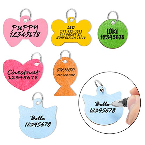 Pet ID Tag Personalized - 6 Pack Wooden Handwriting Name Tags for Dogs, Engraved Dog Cat Tags - 6...