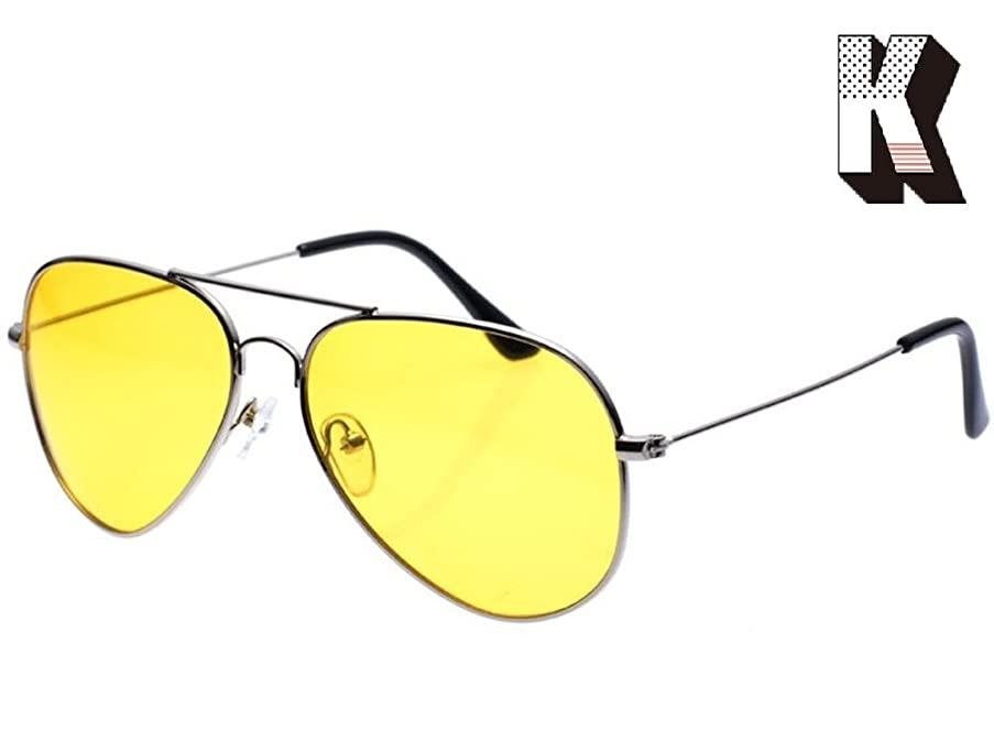Kagogo Men Women Night Vision HD Polarized Glasses for Driving Fishing Shooting Yellow Aviator Anti Glare Alleviate Eye Fatigue Safety Sunglasses