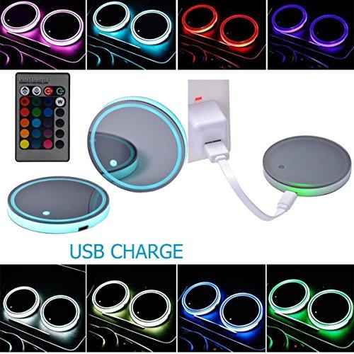 Greaden Topmax - 2 portabicchieri a energia solare per auto, con porta USB, LED 7 colori