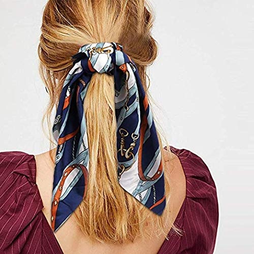 Beauty Wig World Hair Scarf Silk Scrunchies Ponytail - (4 Pack) Chain Detail Unique Hair Ties Designs to match Different Outfits – Satin Silk Hair Bands for Women Teen Tween Hair Scarves Tie 5