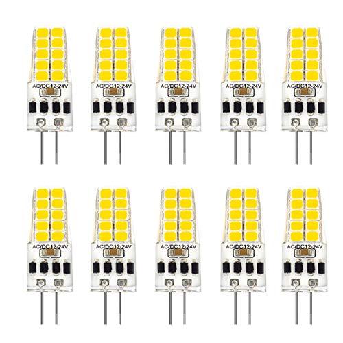 Kaxofang 10 Piezas G4 Bombilla LED AC / DC12V-24V 3W LED G4 Luz 20LED 360 áNgulo de Haz de Luz 2835SMD Reemplazo de LáMpara HalóGena de 30W, Blanco CáLido