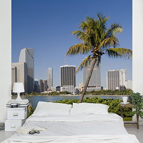 Apalis Vliestapete Miami Beach Skyline Fototapete Quadrat | Vlies Tapete Wandtapete Wandbild Foto 3D Fototapete für Schlafzimmer Wohnzimmer Küche | Größe: 240x240 cm, blau, 97840