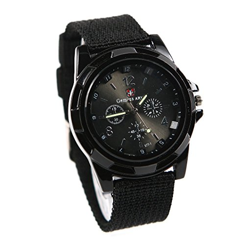 Gemius Army moda sport stile militare esercito pilota tessuto cinturino uomo orologio da polso orologio nero