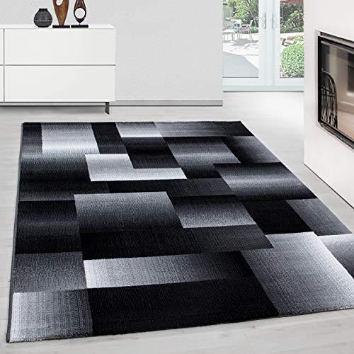 Teppich modern Design Teppich Rechteck Pflegeleicht Kariert Vintage Schwarz, Maße:120 cm x 170 cm