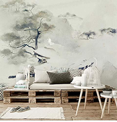 Papel de pino de bienvenida chino Mori Zen Zen House Mural grande Dormitorio Sala de estar Estudio Fondo Papel tapi Pared Pintado Decoración dormitorio Fotomural sala sofá pared mural-250cm×170cm