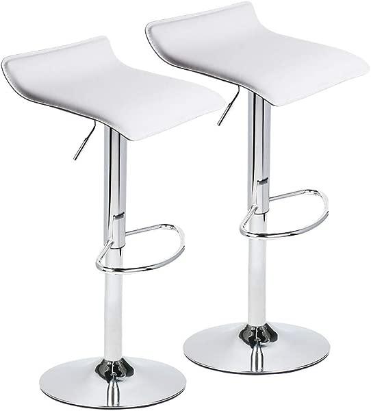 Fullwatt Adjustable Swivel Bar Stools Air Lift Mordern PU Leather Counter Height Pub Stools Chairs Square Bar Chairs Set Of 2 Breakfast Bar Stools White