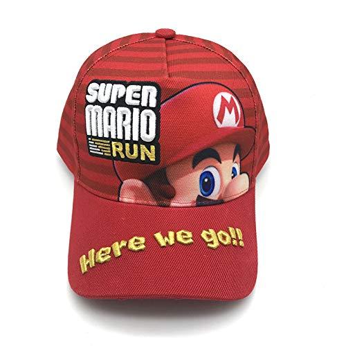 Sombrero de Super Mario Hip Hop Anime Super Mario sombrero bordado rojo lindo dibujos animados colegial moda al aire libre gorra de béisbol con protección solar