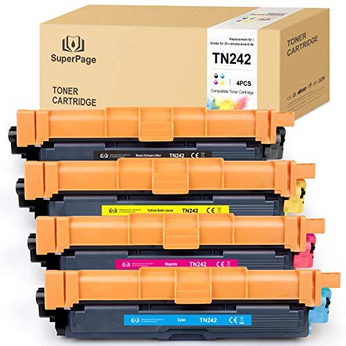 4 Superpage Toner Kompatibel für TN242BK TN-242 Multipack Toner für MFC-9142CDN HL-3142CW MFC-9332CDW DCP-9017CDW DCP-9022CDW HL-3152CDW HL-3172CDW (1Schwarz/1Cyan/1Magenta/1Gelb)