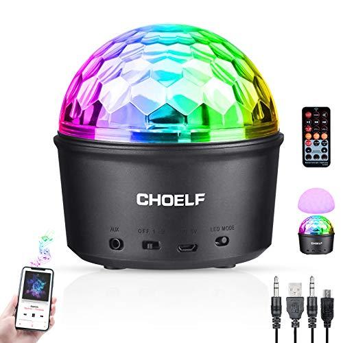 CHOELF Luces Discoteca, Bola Discoteca con Altavoz Bluetooth y Linea USB, LED Giratoria Luz de Fiesta 9 Colores RGB Lámpara de Noche con Mando a Distancia, Iluminacion para Cumpleaños Bodas Navidad
