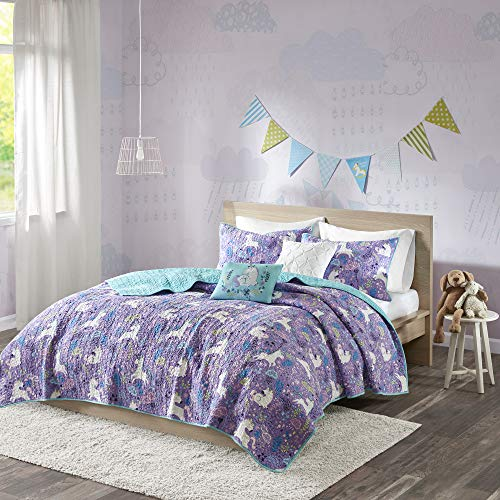 Urban Habitat Kids Lola Full/Queen Bedding for Girls Quilt Set - Purple, Aqua, Unicorns – 5 Piece Kids Girls Quilts – 100% Cotton Quilt Sets Coverlet