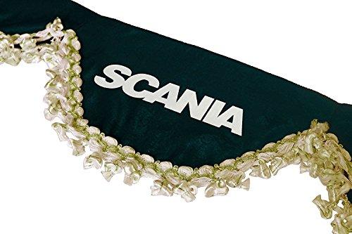 AutoCommerse Lot de 2 rideaux de fen/être lat/érale en satin avec pompons blancs pour camions Scania S R P L G s/érie poids lourds Rouge