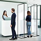 6Pack Floor Standing Sneeze Guard (82.6'H x 34.3'W)- Clear Plexiglass Barrier Floor Standing, Free Standing Plexiglass Partition Dividers Protective Shield for Office/Counter/Classroom/Reception