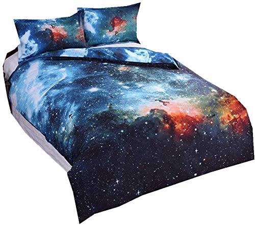 3D galaktischen kosmischen Himmel Anzüge Kinderbett Einhorn Sterne Mond Farbdruck Einzelbettbezug 140 x 200 cm,B