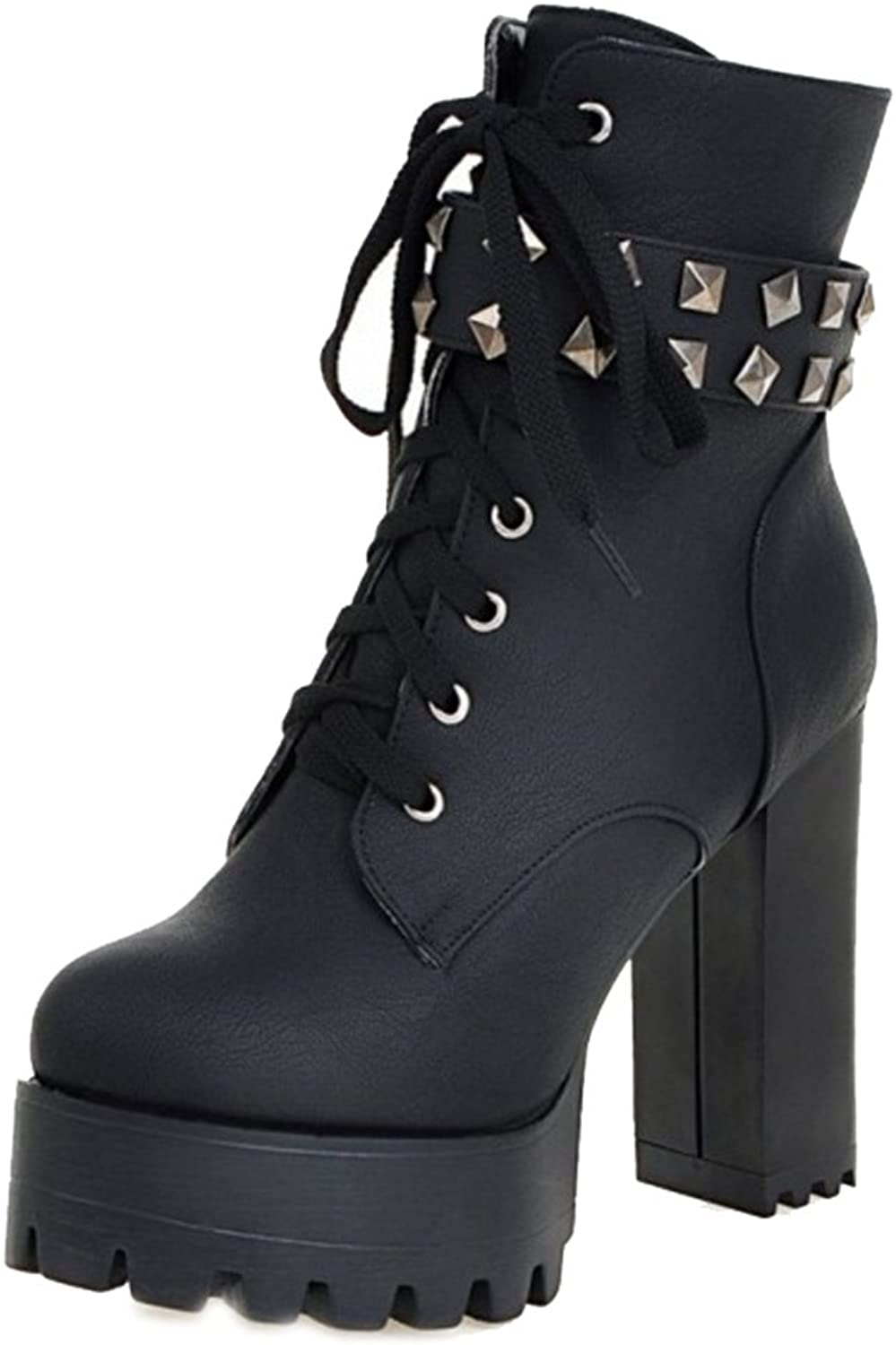 SJJH Martin Boots with High Chunky Heel and Thick Platform Fashion Ankle Boots with Large Size