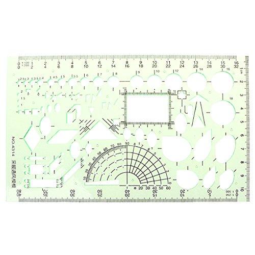 AERVEAL Rectángulo Forma de círculo Herramienta de Dibujo geométrico Regla de Plantilla Papelería para Estudiantes, Regla de Plantilla
