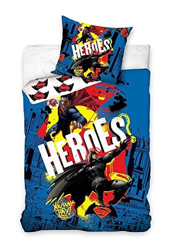 Batman V Superman - Juego de cama (funda nórdica de 140 x 200 cm y funda de almohada de 70 x 80 cm, 100% algodón)