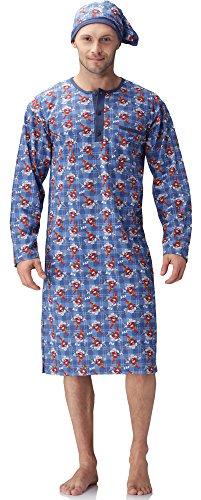 Cornette Herren Nachthemd mit Schlafmütze 110V2016 (Blau(Cowboy Chili), S)
